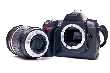 Modern camera with zoom lens isolated on white background Stock Photo - 7373157