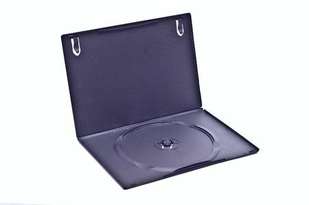 One empty dvd opened case isolated on white photo