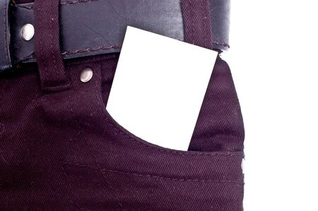 White message paper in jeans pocket photo