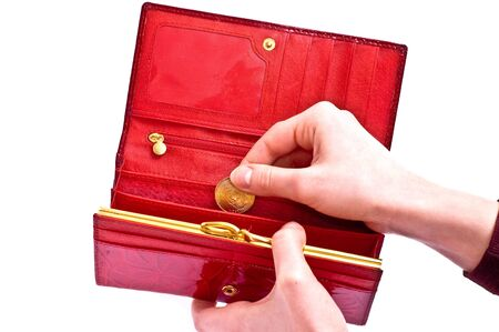 Wallet with money and hands isolated on white Stock Photo