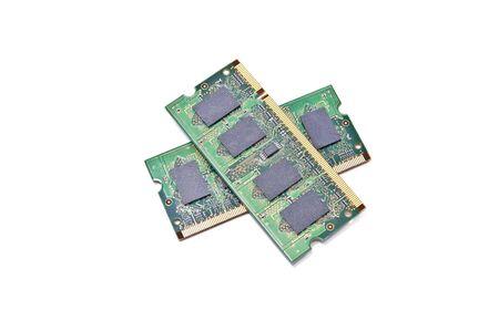gigabytes: Two sticks of laptop memory isolated on white Stock Photo