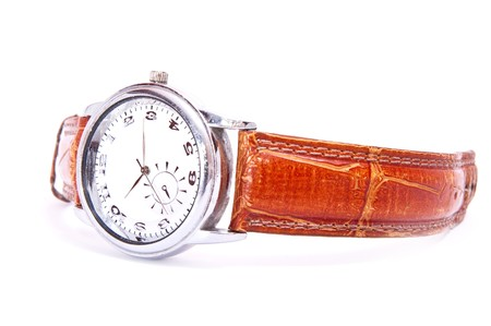 mens wrist silver watch isolated on white photo