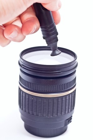 The camera lens with lens cleaning brush pen