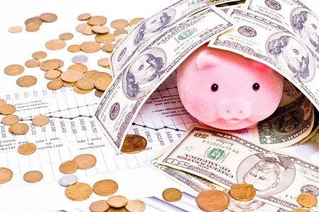 Pink pig in house from dollars. Focus on pig  photo