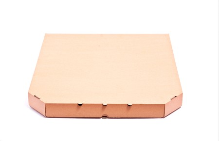 Carton box with pizza isolated on white. Small shadow photo