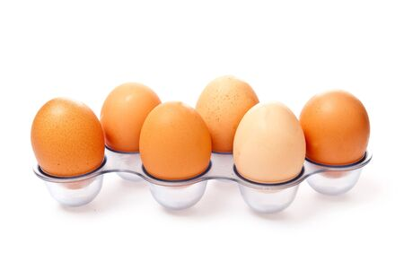 row from eggs isolated on white background Stock Photo - 7372808