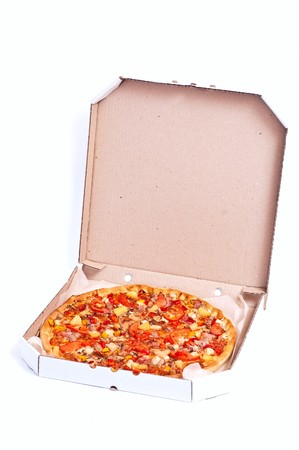 Fresh hot pizza with meat and cheese. With shadow photo