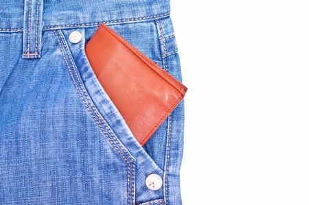 unworn: Wallet in blue jeans pocket on white background