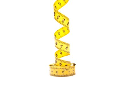 depth measurement: yellow tape measure isolated on white background