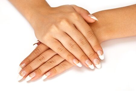 Girl's hands with perfect nail manicure on white background Stock Photo - 7636908