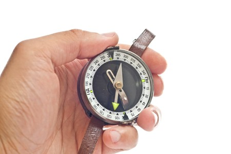 orienting: Mans hand holding a compass. Isolated on white