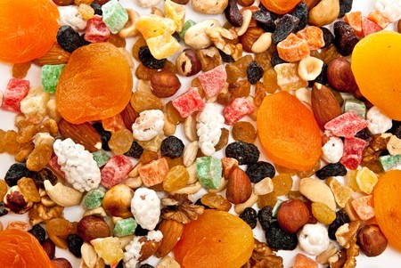 Mix dry fruit and nut n white background photo