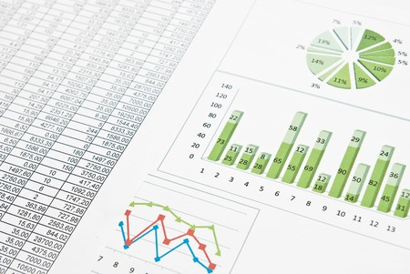 Business still-life with diagrams, charts and numbers Stock Photo