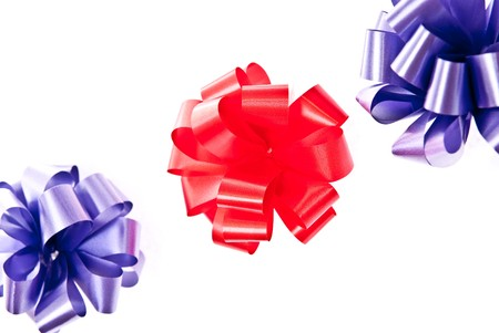 Red and blue bows on white background Stock Photo - 7680910