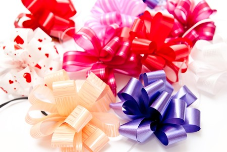 Background from colored bows. Studio shot Stock Photo - 7680974