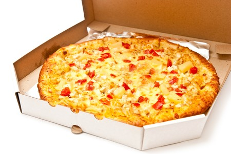 Fresh pizza in open box isolated on white. Light shadow photo