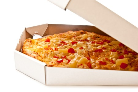 Fresh pizza in open box isolated on white Stock Photo - 7680936