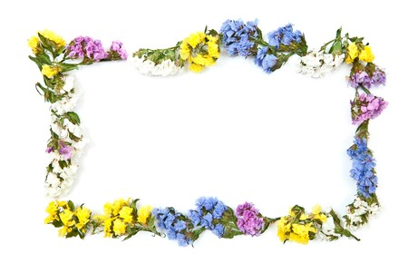 Colored flowers frame isolated on white photo