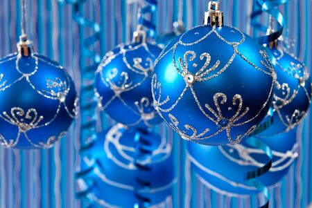 Christmas background from balls. Blue background  photo