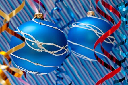 Christmas decoration from two blue balls. Studio shot photo