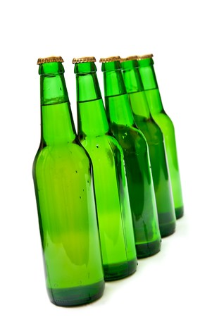 Row from beer bottles. Isolated on white background Stock Photo - 7942938