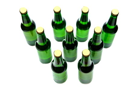 Rows from beer bottles on white background. Stock Photo - 7942853