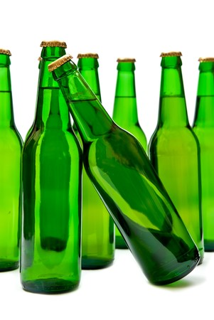 Bottles with beer on white background. photo