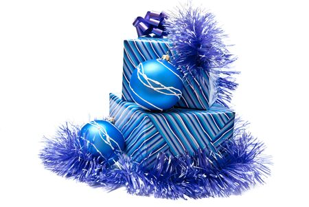 Blue gifts boxes with christmas decoration. Isolated on white