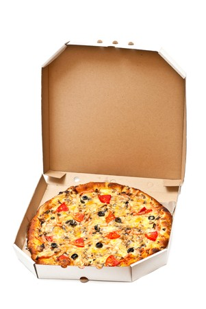 Pizza in open cardboard box isolated on white background. Vertical shot photo