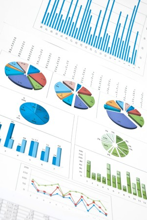 financial advice: Business still-life with diagrams, charts and numbers. Vertical shot