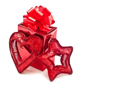 horozontal: Red gift boxes and christmas toys. Isolated on white Stock Photo