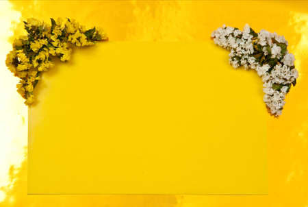 Greeting card with flowers on yellow background photo