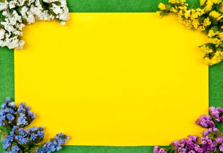 Yellow paper blank on green with flowers design Stock Photo - 8152482