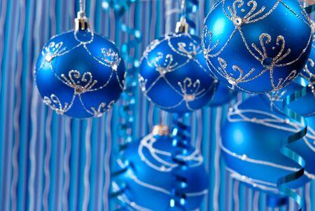 Christmas background from blue balls. studio shot  photo