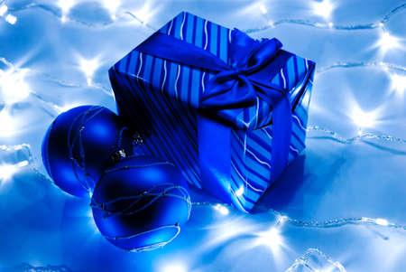Christmas blue balls and gitf with garland Stock Photo - 8152469