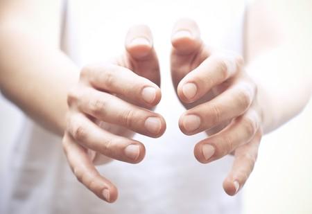 reaching out: Male open hands. Studio shot