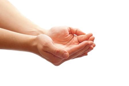 manos abiertas: Del hombre ahuecada manos aisladas sobre fondo blanco  Foto de archivo
