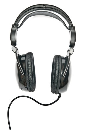 Black headphones isolated on white background photo