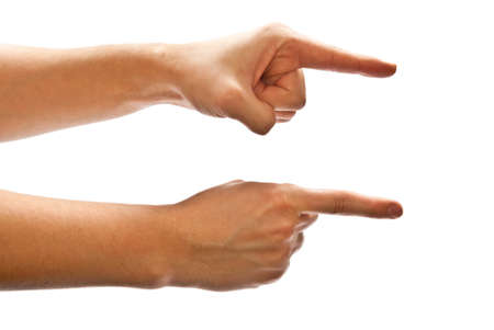 Man's hands pointing the direction to follow. White background. Stock Photo - 8152525
