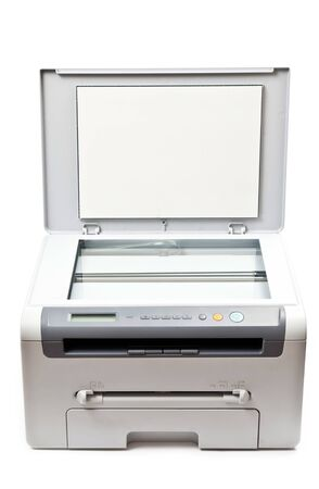 Grey computer printer isolated on white background photo