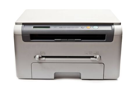 Grey computer laser printer isolated on white background photo