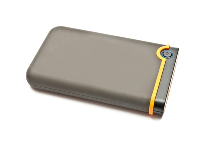 External hard drive isolated on white background photo