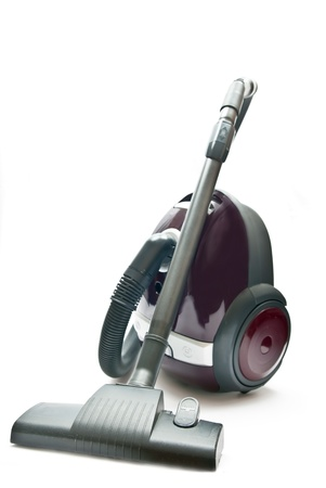 anti bacterial: Red vacuum cleaner isolated on the white background.
