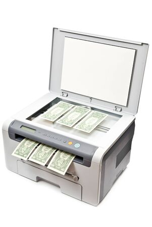 Grey laser printer and dollars isolated on white background photo