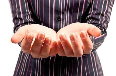 mains ouvertes: Mains open f�minins. Studio abattu Banque d'images