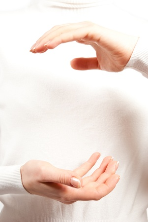 Woman's hands open. On white background Stock Photo - 8921413