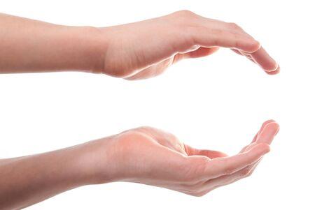 hands open: Abren de manos del ni�o. Aislados en fondo blanco Foto de archivo