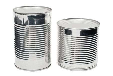 food staple: Two steel food cans isolated on white Stock Photo