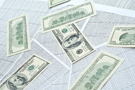 Rows of numbers on a spreadsheet and dollars Stock Photo - 9085061