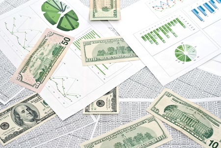 Chard, diagram and spreadsheets with dollars. Stock Photo - 9085059